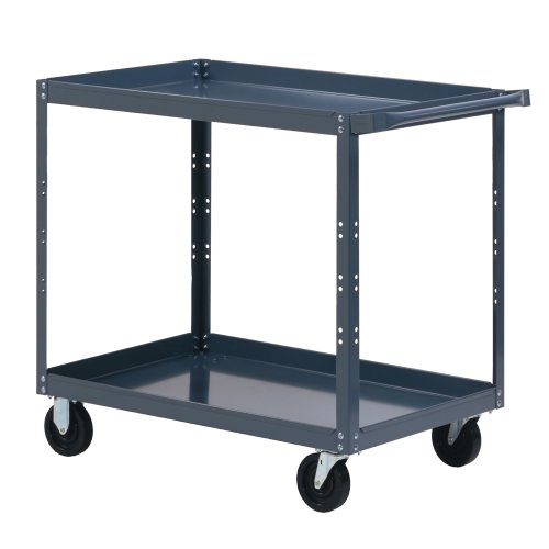 Edsal-SC1803-Extra-Heavy-Duty-Industrial-Gray-Service-Cart-16-Gauge-Steel-2-Shelves-1000-lb-Capacity-36-Height-x-48-Width-x-24-Depth