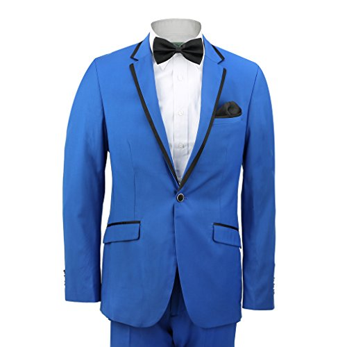 "XPOSED Mens Royal Blue Fitted Classic Black Trim Lapel Suit Wedding Prom Party Blazer[3001,Chest UK 40 EU 50,Trouser 34"",Royal Blue] from XPOSED"