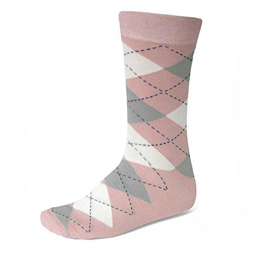 Men's Blush Pink and Gray Argyle Socks