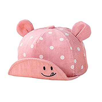 c386b247538 Amazon.com   Kids Newborn Toddler Baby Summer Breathable Caps Girl Boy  Snapback Cap Dots Little Ear Hats New   Baby