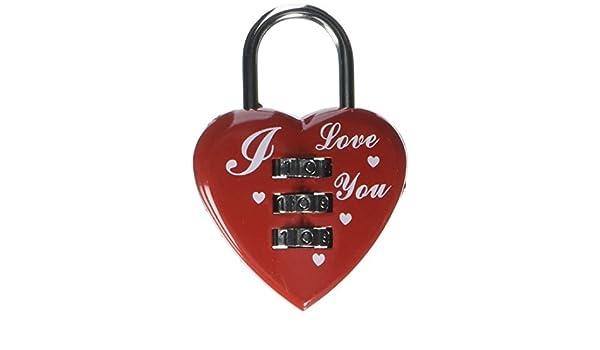 Corazón rojo Diseño de 3 dígitos reajustable combinación con código de bloqueo del candado de equipaje - - Amazon.com