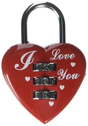 Corazón rojo Diseño de 3 dígitos reajustable combinación con código de bloqueo del candado de equipaje