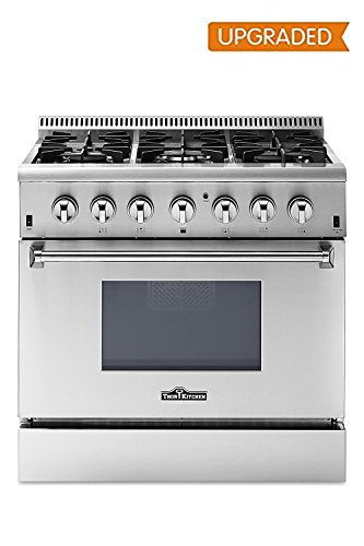 (Thor Kitchen Free Standing Freestanding Professional Style Gas Range with Burners, Convection Fan, Cast Iron Grates, and Blue Porcelain Oven Interior, in Stainless Steel (HRG3618U))