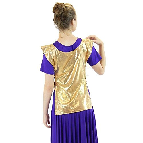 Polyester Dance (Danzcue Womens Polyester ephod Dance Top, Gold, Small/Medium)