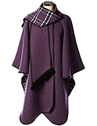 Wool Blend Scottish Tartan Reversible Cape