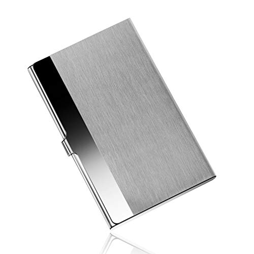 DMFLY Professional Business Card Holder Business Card Case Stainless Steel Card Holder Slim Design for Men and Women, Keep Your Business Cards Safe and Clean