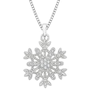 Diamond ''Snow Flake'' Pendant with Chain in Sterling Silver (0.09 cttw)