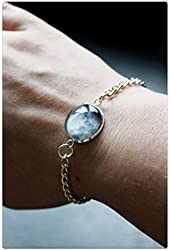 Full Moon Phase Bracelet -Choice of Phase Glass Dome Full Moon Personalised Moon Bracelet Chain
