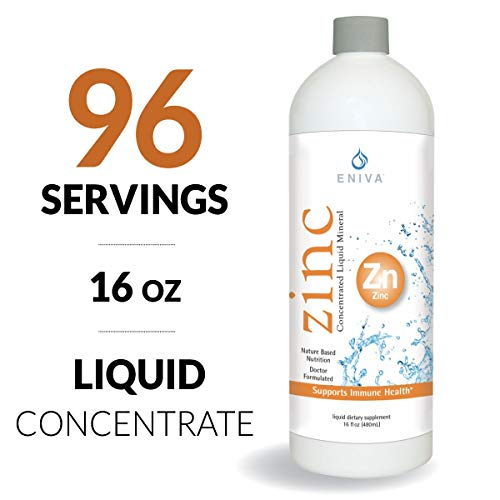 Liquid Ionic Zinc Supplement (16ounces) MAX Value. 6X More Versus Others. Immune Health, Vision, Skin. Doctor Formulated. NO Calories. NO Sugar. Perfect for Low-Carb, Keto & Flu. by Eniva Health