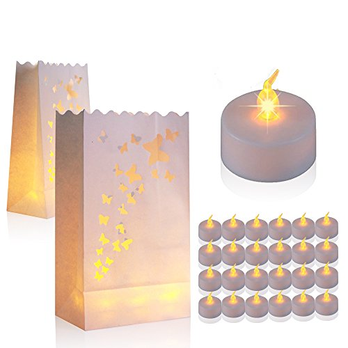 60 Flameless Tea Lights - Yellow Flickering LED Tealight Candles with 30 Butterfly Bonus Luminary Bags - Butterfly Tealight Candle