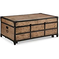 Magnussen T4039-67 Maguire T4039 Maguire Industrial Storage Trunk Coffee Table in Weathered Barley Finish