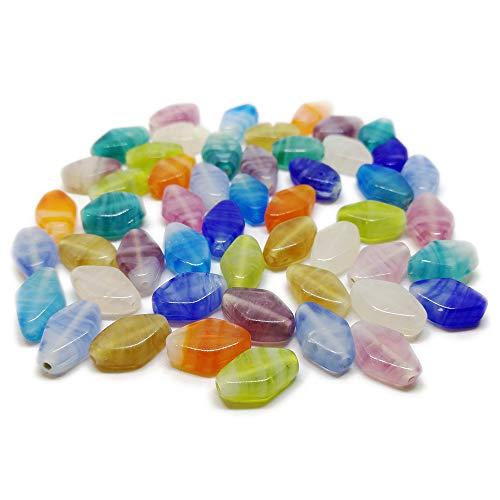 - Beading Station 50-Piece Mix Handmade Flat Diamond Shaped Lampwork Glass Beads, 8 by 10mm
