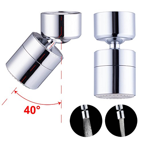 Waternymph 1.8GPM Kitchen Sink Aerator Solid Brass - Big Angle Swivel Faucet Aerator Dual-function 2 Sprayer - Swivel - Polished Chrome - 1 Polished Chrome Angle