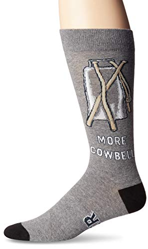 K. Bell Socks Men's Play on Words Novelty Crew Socks, More More Cowbell (Charcoal), Shoe Size: 6-12