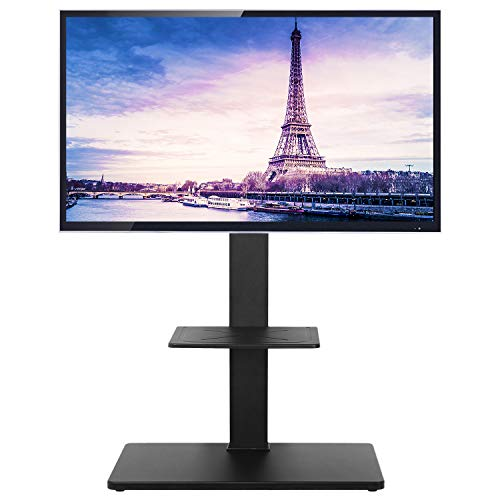 TAVR Universal Swivel Floor Corner TV Stand Base with Height Adjustable Mount for 32 37 42 47 50 55 60 65 inch Plasma LCD LED Flat or Curved Screen TVs 2-Tier Media Storage Stand Black (Tv Inch For Corner 52 Tv Stand)