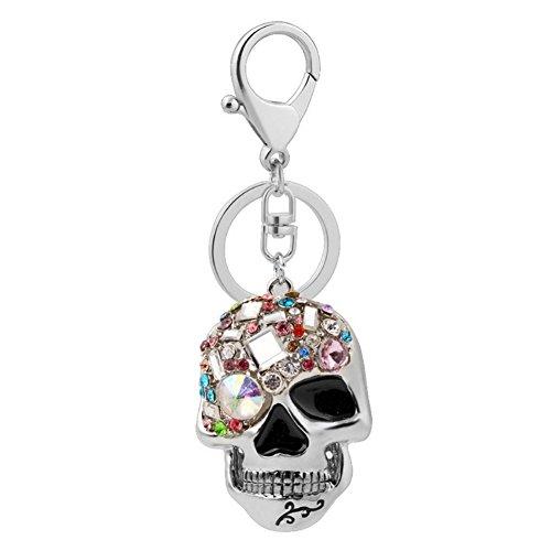 Skull Key Keychain Creative Novelty Blings Skull Keychain or Purse Handbag(Sliver Keychain)