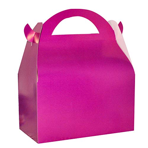 (Set of 24 Fuchsia Gable Favor Boxes, Hot Pink Baby Shower Birthday Party Gift Favor Boxes (Hot Pink))