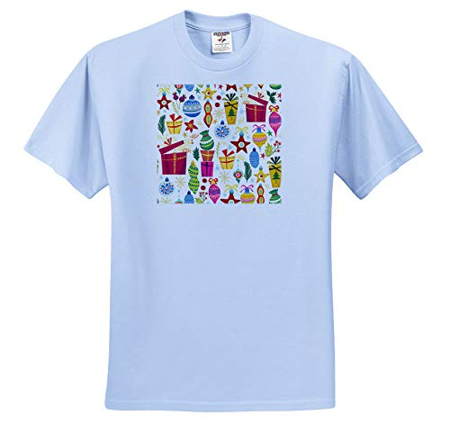 Anne Marie Baugh - Christmas - Cute Fiesta and Ornaments Pattern - T-Shirts - Toddler Light-Blue-T-Shirt (3T) (ts_289301_64)