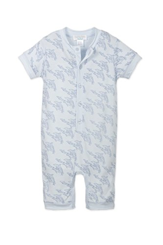 Feather Baby Boys Clothes Pima Cotton Short Sleeve Henley One-Piece Shortie Romper, 6-9 Months, Dolphins-Indigo on Baby Blue