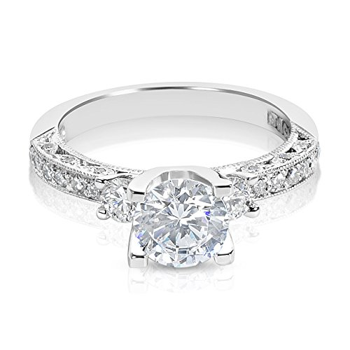 Tacori Platinum 3-Stone Diamond Engagement Ring Setting with 6.5 mm Round CZ Center, 1/2 ct TDW, Size 7 (Tacori Platinum Engagement Rings compare prices)
