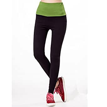 YMXING Womens Spandex Elastic Waist Ninth Pants Yoga Pants Grass Green Size M