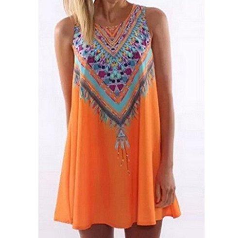 SRYS 2017 Summer Vintage Boho Women Summer Sleeveless Beach Printed Short Mini Dress (XXL, Orange) from SRYS