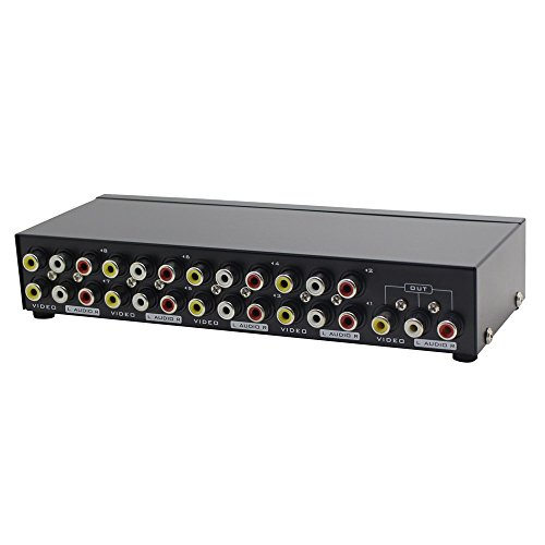 Panlong 8-Way AV Switch RCA Switcher 8 In 1 Out Composite Video L/R Audio Selector Box for DVD STB Game Consoles - Audio Tv Box
