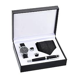 Souarts Herren Geschenkset mit Armbanduhr Geldbörse Gürtel Geschenkset für Herren Schwarz (mit Stift & Manschettenknöpfe)