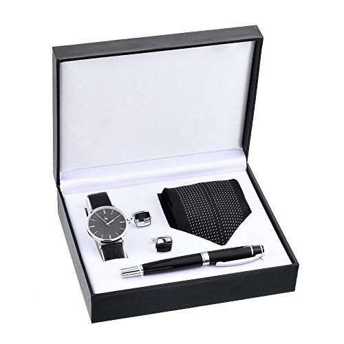 (Souarts Watch-Set-for-Men Gift-for-Men Artificial Leather Quartz Analog Wrist Watch Cufflinks Pen Tie Set Black)