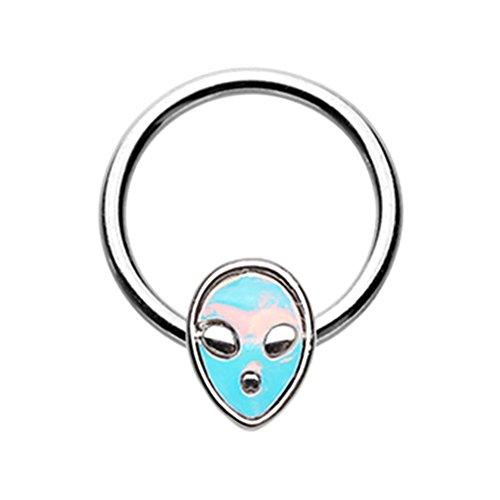 16G Inspiration Dezigns Alien Revo Head Steel Captive Bead Ring (Sold Individually) (16G, Length: (Revo Ring)