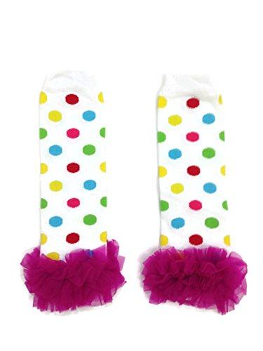 Rush Dance Variety Chiffon Ruffles Baby/Toddler Leg Warmer (One Size, Rainbow Polka Dots - Hot Pink -