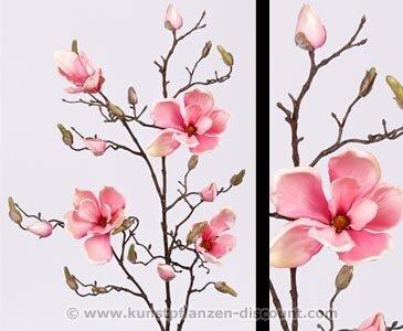 Deko Zweig Magnolien rosa, 4 Blüten, Höhe 107cm - Kunsblumen künstliche Blumen Kunstpflanzen künstliche Pflanzen Blumen