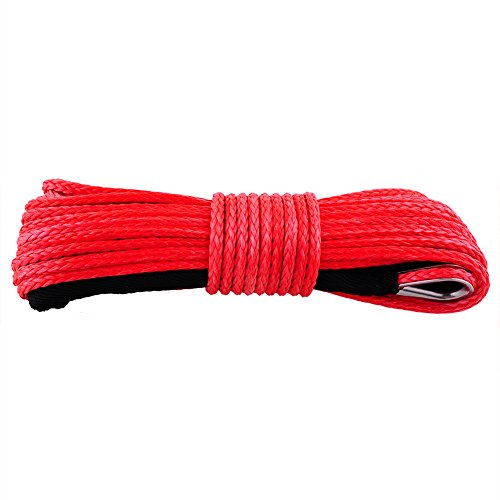 Buy Sedeta 50'x3/16 Strong Durable Dyneema Synthetic Winch Rope 4380LB Red Fastness For ATV UTV KFI...