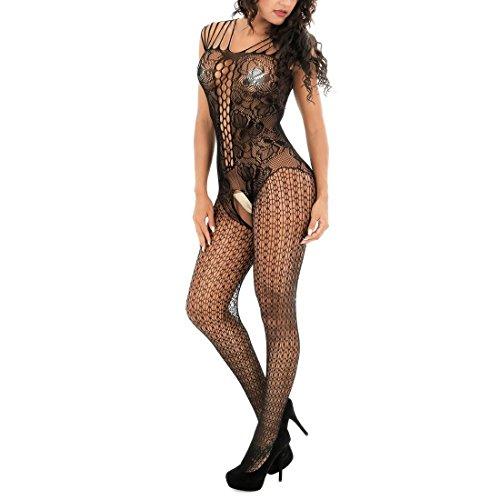 HXQ Body de cuerpo entero para mujer, encaje floral negro talla única Bodystocking