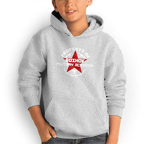 Shenhuakal Youth Hoodies Property of Rozhok Military Academy Ggirl%Boy Sweatshirts Pullover with Pocket Gray 32 by Shenhuakal