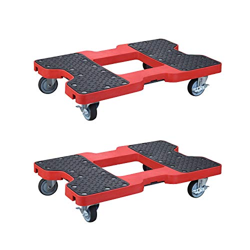 (2 Pack 1500 lb Capacity Flatbed Cart Hand Platform Truck Push Dolly for)