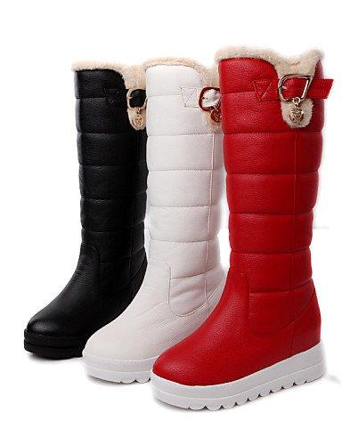 Uk5 Eu39 Mujer 5 Rojo Cn38 Red us8 De Semicuero Botas Zapatos Vestido Cn39 5 Eu38 Red Nieve Xzz Negro us7 Punta Blanco Plataforma Redonda Uk6 Z4BwqEExA