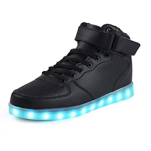 SAGUARO Herren Damen LED Sport Schuhe 7 Farbwechsel USB Leuchtend Sportschuhe Sneaker Turnschuhe Hoch schwarz