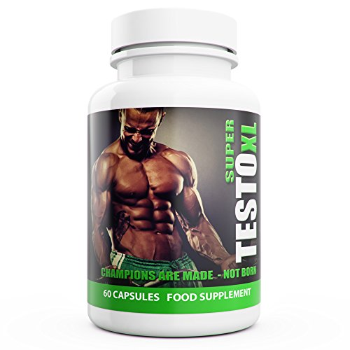Super Testo XL Extreme Natural Testosterone Booster for Men - 60 Capsules - UK Manufactured Natural Supplement Contains Tribulus Terrestris Increase Testosterone Levels Libido Muscle & Strength