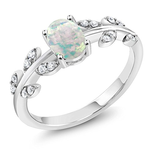 Olive Rose Collection - 0.84 Ct Oval Cabochon White Simulated Opal 925 Sterling Silver Olive Vine Women's Ring (Available in size 5)