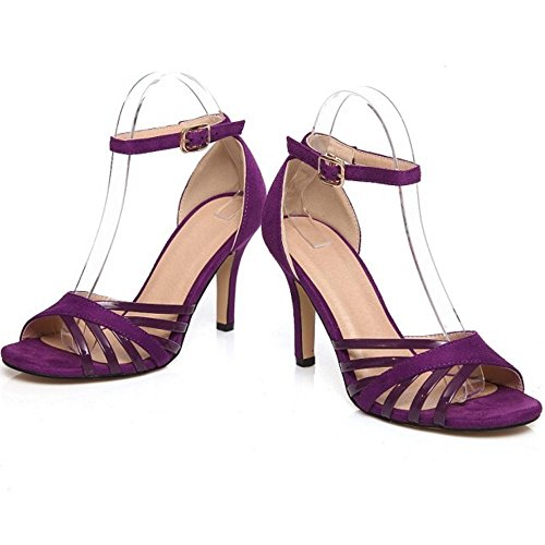 Coolcept Zapatos Abierta Purpura Mujer de Sandalias Tacon Al Alto Tacon Tobillo Aguja Elegant Punta HH7qgwr