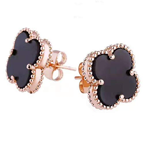Women Black Onyx 18K Gold Plated Four Clover Charm Stud Earrings/Leaf Clover Stud Earrings,925 Sterling Silver 4 Color Flower Shape Fashion Stud Earrings (Black-rose gold)