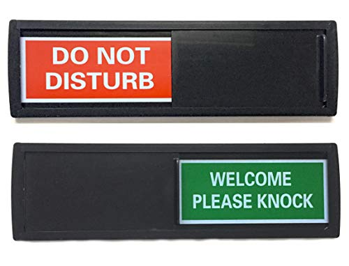 (Black Do Not Disturb Sign | SHUTTER CHANGES WHEN YOU PUSH IT | For Home, Offices,Hotels, Hospitals (Don't Disturb, Welcome Signs) Also includes double sided tape mounting.)