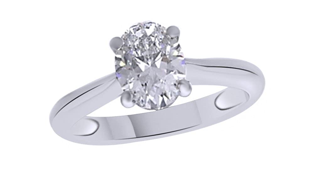Jewel Zone US Oval Shaped White Cubic Zirconia Anniversary Solitaire Ring in 14k Gold Over Sterling Silver (1.5 Carat) MNo-M-CMROV-1.5