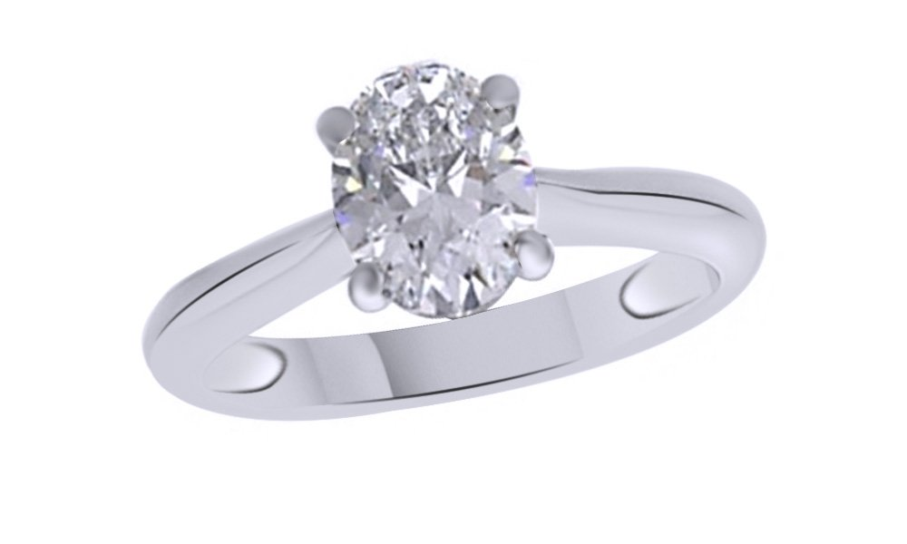 Jewel Zone US Oval Cut White Cubic Zirconia Anniversary Solitaire Ring in 14k White Gold Over Sterling Silver (2 Carat)