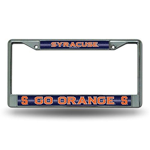 Ncaa Syracuse Orange Bling License Plate Frame  Chrome  12 X 6 Inch