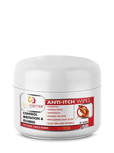 Fitter Critter Aloe Dog Ear Wipes with Cleaning Ketoconazole - for Infections and Controlling Yeast, Mites, and Odor in Pets Ears - Medicated Pet Wipes with Anti-Itch Formula for Dogs & Cats (Yeast Infection Dog Ears Over The Counter)