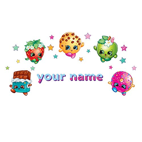 Oliver's Labels Personalized Shopkins Theme Kids Name Wall Decal