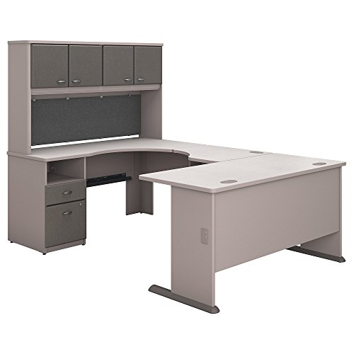 (Bush Business Furniture Series A 60W U Shaped Desk with Hutch and 2 Drawer Pedestal in Pewter and White Spectrum)