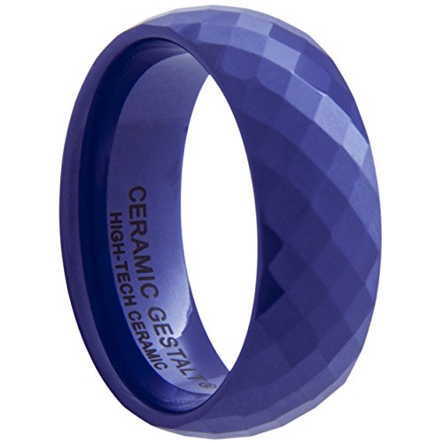 Blue Ceramic Ring by CERAMIC GESTALT - 8mm Width. Faceted Design. (Avail. Sizes 5 to 14) Size 7 - RB8F7